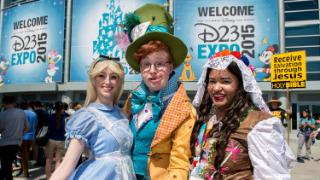 Disney fans arrive at the second day of D23 EXPO 2015 at the Anaheim Convention Center in Anaheim, California