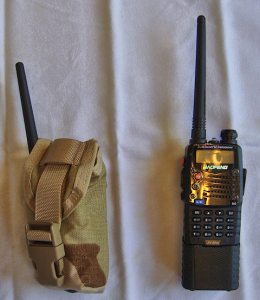 Standard UV-5RA fits with perfectly with the pouch flap covering the entire top of the radio.