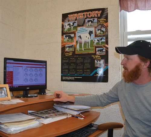Lewis Horning can check on numerous aspects of each individual cow's performance on a computer in his office, which is adjacent to the AMS room.