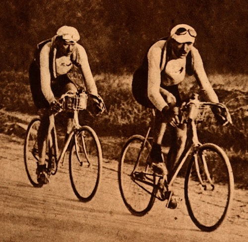 Henri and Francis riding the Tour.