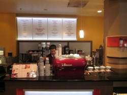 Coffee menu and Specialty's La Marzocco FB/70 and pour-over bar