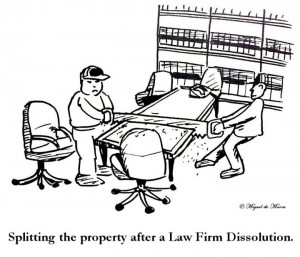 Law Firm Dissolution Cartoon - Law Firm, Law Partner, Law Office, Lawyer, Attorney, Conference Room, Business Divorce, Property Settlement, Property Division