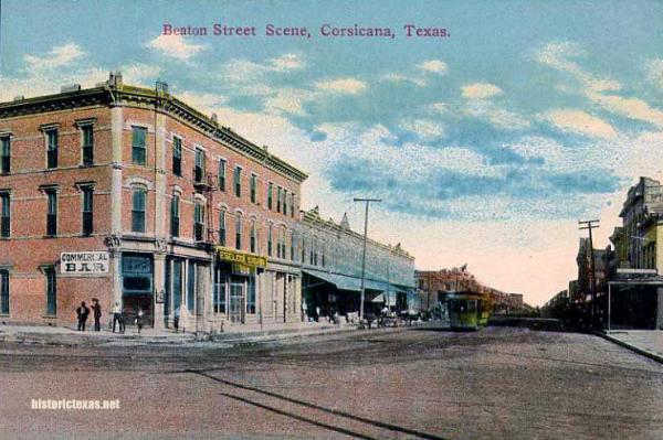 Beaton Street Scene, Corsicana, Texas 1900s