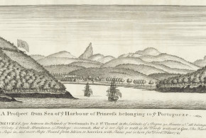 Island of Principe (Sao Tome and Principe), 1727. Old view of the island of Príncipe, the bay of the port and the Fortaleza da Ponta da Mina (on the left)