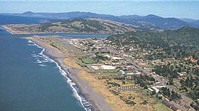Looking north up the coast at Gold Beach, Oregon