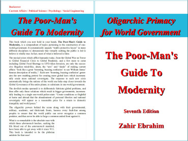 Click to Download PDF: The Poor-Man's Guide to Modernity  By Zahir Ebrahim 7th Edition August 2013