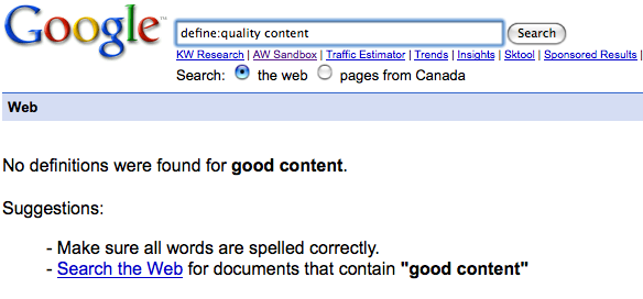 define quality content - google search