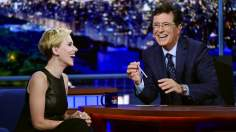 Stephen Colbert with guest Scarlett Johansson during a taping of The Late Show with Stephen Colbert, Wednesday, Sept. 9, 2015. It was all a little awkward.