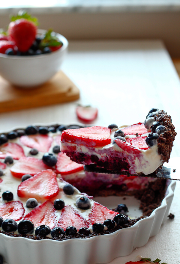 Red, White and Blueberry Cheesecake Ice Cream Pie