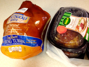 A tale of two turkeys - one 'fully cooked' one ready to eat.