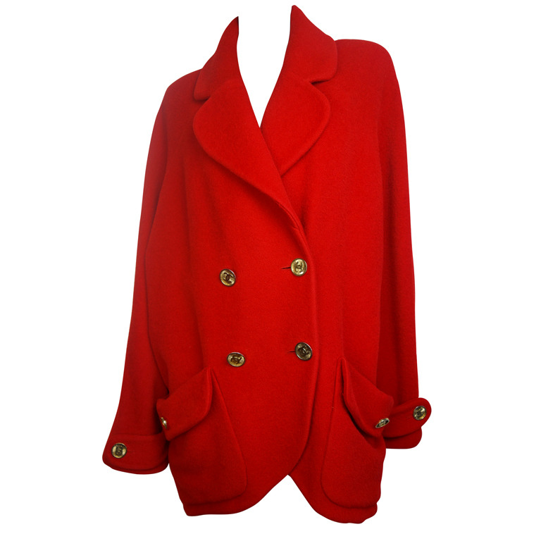 chanel red double breasted wool coat 1stdibs