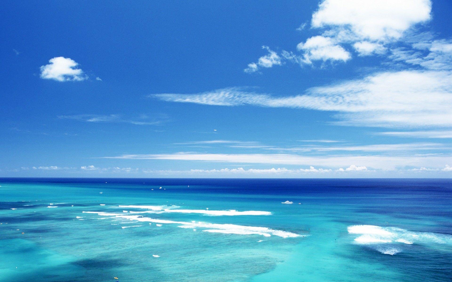 一望无际的大海景观 精美ppt背景图片