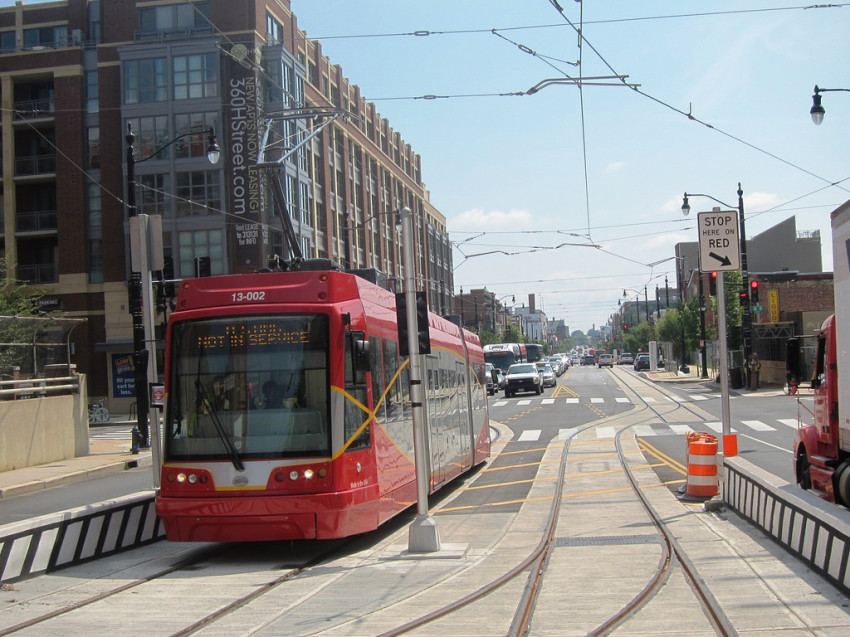 Streetcar testing on H Street, NE. Image courtesy of DDOT.