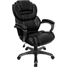 Black Leather Executive Office Chair with Leather Padded Loop Arms