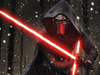 Kylo Ren wields his crucifix light saber, while Captain Phasma and General Hux rally their troops.