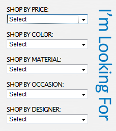 Navigation dropdown menus listing options to shop by price, color, material, occasion and designer.