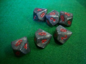 Marbleized Charcoal and Red Dice