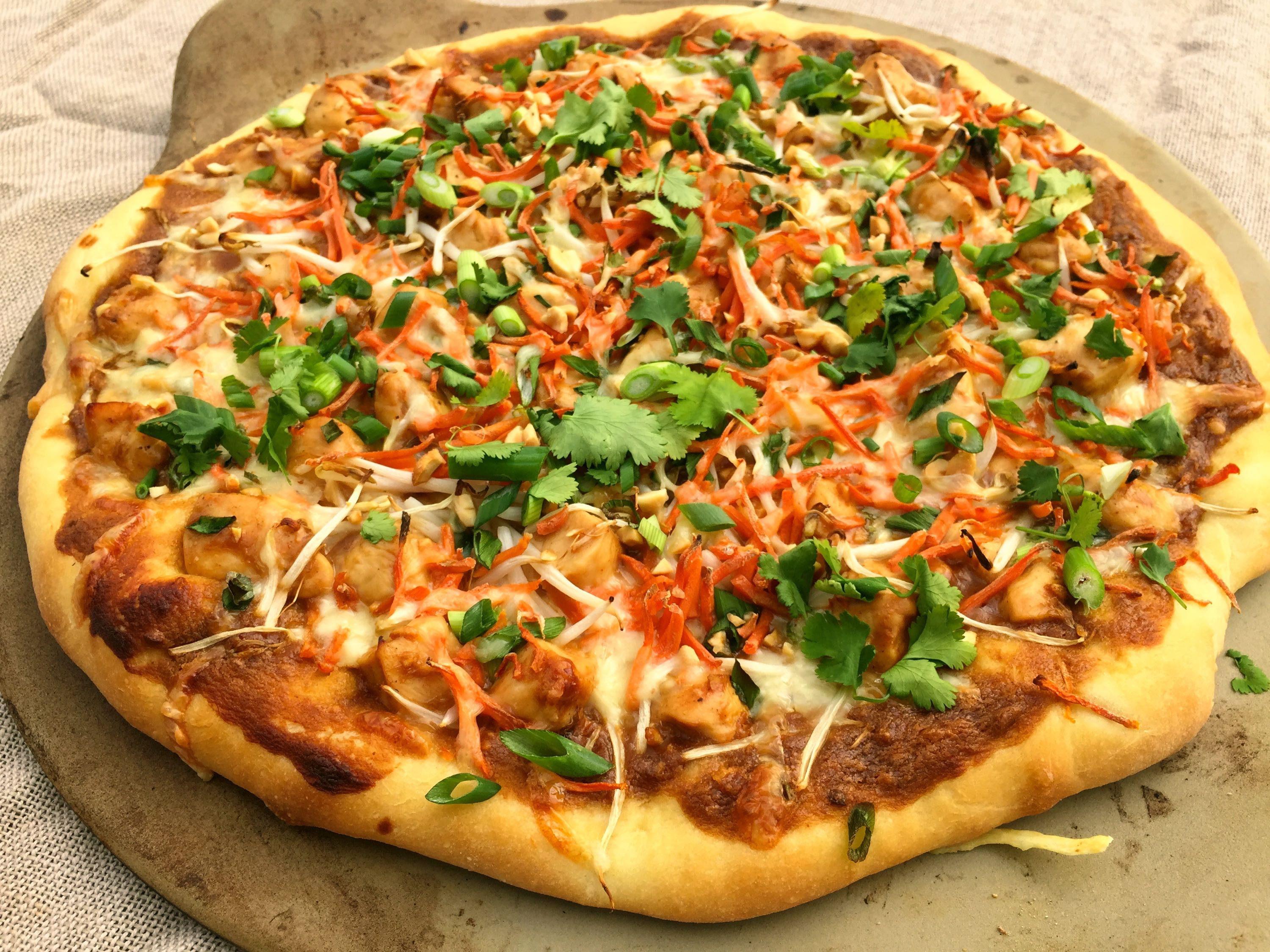 Weeknight Thai Chicken Pizza by Eating with a Purpose