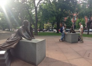 Above: The Boston Women's Memorial located between Fairfield and Gloucester Streets on The Commonwealth Mall
