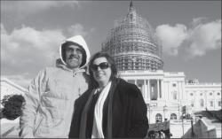"""ON A MISSION—Patrick Glynn of Old Agoura completed a 400-mile """"Walk for Lost Kids"""" that started Oct. 15 in Boston and ended returned Nov. 14 at the U.S. Capitol. The divorced father is raising awareness about the issue of parental alienation. With him is Sherry Palmer of Fix Family Courts, who arranged a rally in an effort to change how child custody decisions are handled in family court."""