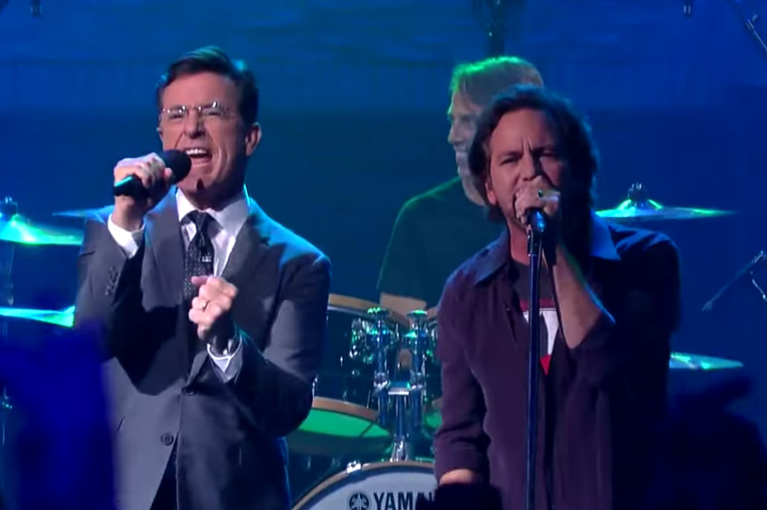 Watch Pearl Jam Play 'Mind Your Manners' + 'Rockin' in the Free World' on 'Colbert'
