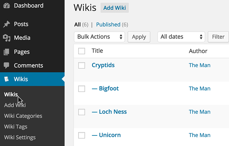 Quickly manage all your wikis from the dashboard.