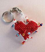 Red Heart Beaded Keychain