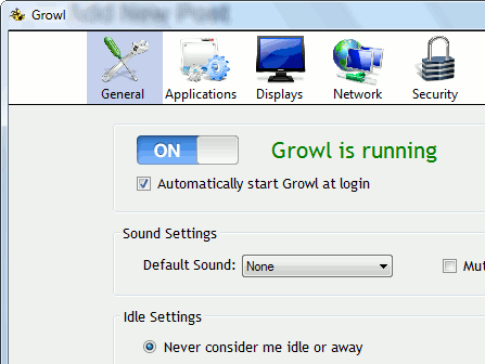 Growl system-wide notifications alerts