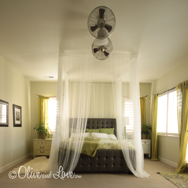 bedroom rotating two fans ceiling canopy curtains