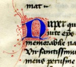 Decorated opening word 'Nuper' of the Dialogues, Book III, Chapter 13, reproduced by permission
