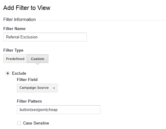 Referral exclusion filter