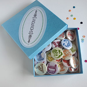 Alphabet Magnets Or Badges In Gift Box Of 50 - place card holders