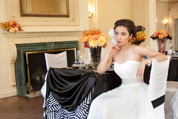 black and white modern wedding