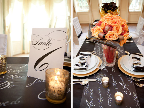 calligraphy black white table number cards