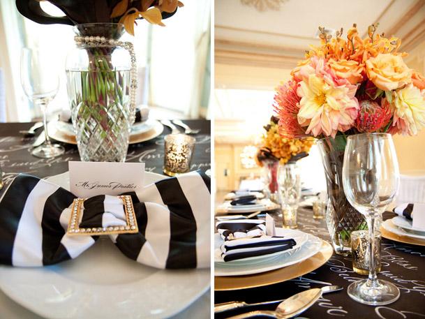 black white striped napkins gold modern