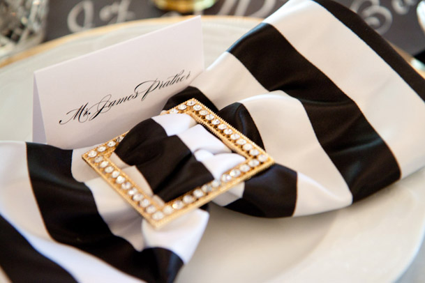 striped black and white linen gold detail