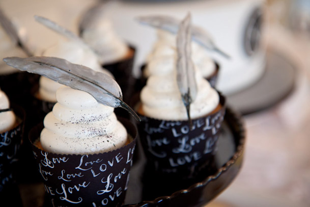calligraphy cupcake liners