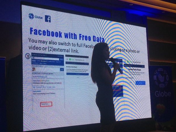 Globe Telecom VP Jil Go speaks during the press briefing announcing the new suite of access to Facebook