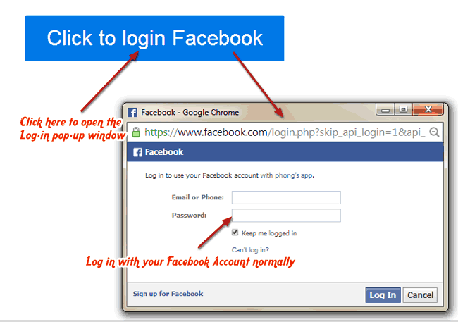Log in with your Facebook normally with Foobla App
