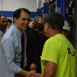 Governor Walker greets students at Northcentral Technical College during the Wisconsin Fast Forward grant announcement.  7/18/14