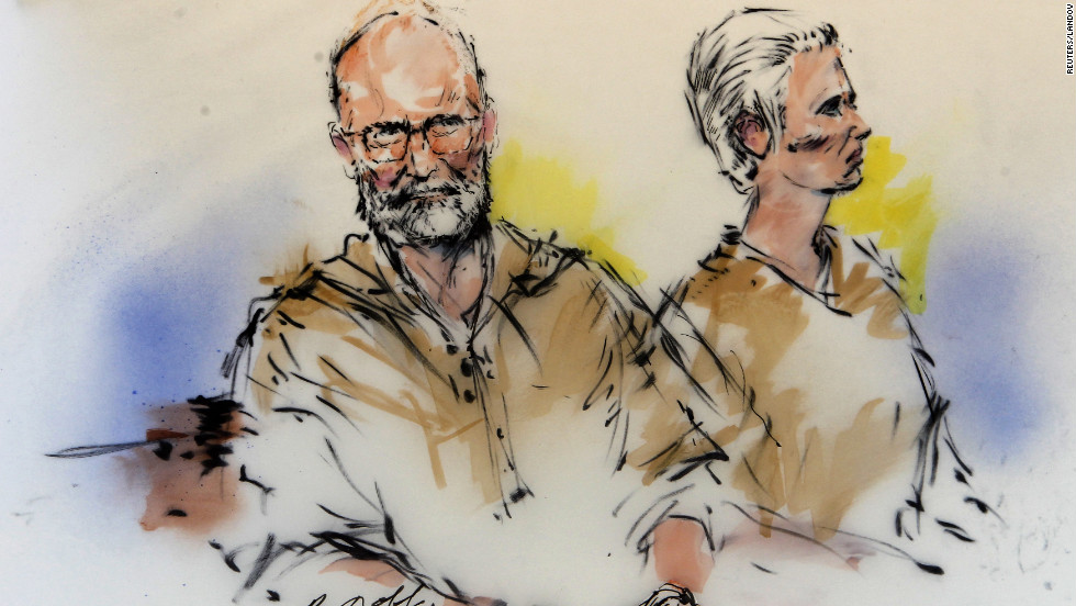 Bulger and Greig are shown during their arraignment in this 2011 courtroom sketch.