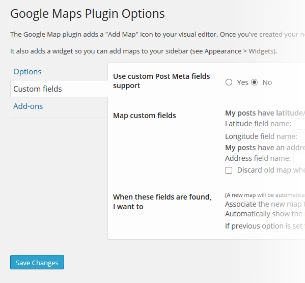Google Maps Custom Fields