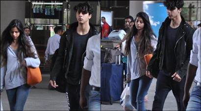 Shah Rukh Khan's kids Aryan and Suhana's stylish appearance at the airport