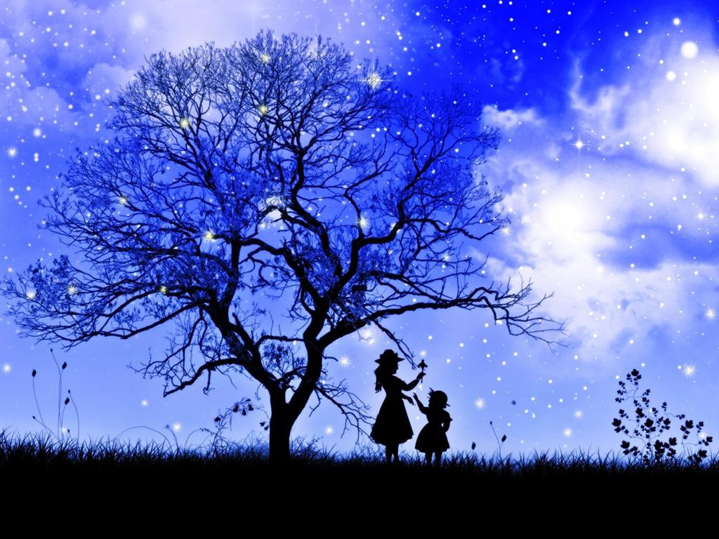 课件背景图片树,树枝,孩子,女孩,草地,星星,