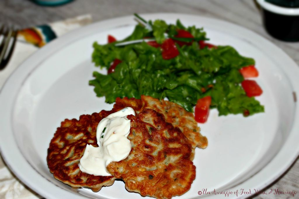 Chickpea & Pancetta Fritters with Maple Chile Yogurt | Un Assaggio of Food, Wine, & Marriage