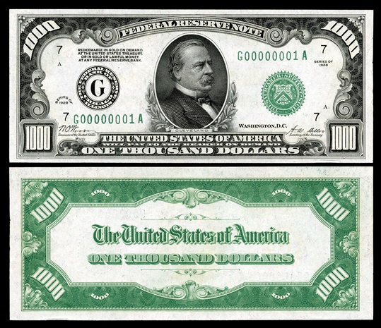 Picture Of 1000 Dollar Bill