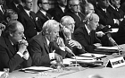 From left: Lord Soames, Prime Minister Edward Heath, Foreign Secretary Alec Douglas Home and Anthony Barber during EEC talks in Paris on November 8, 1972
