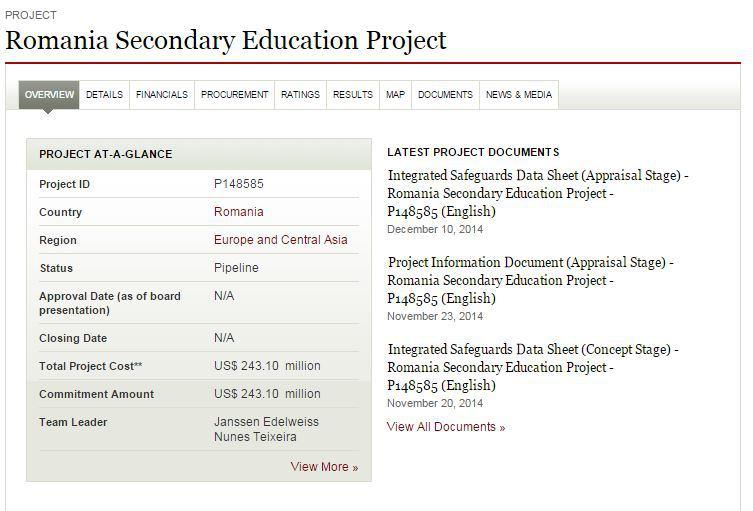 Capută din site-ul Băncii Mondiale