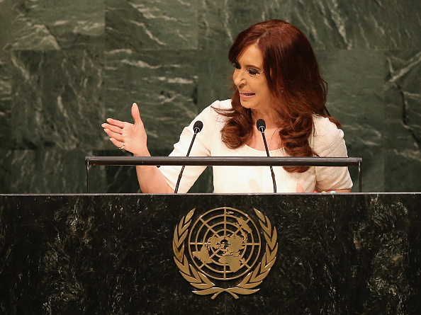 NEW YORK, NY - SEPTEMBER 28:  Argentine President Cristina Fernandez addresses the United Nations General Assembly on September 28, 2015 in New York City. World leaders gathered for the 70th session of the annual meeting.  (Photo by John Moore/Getty Images)