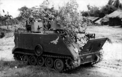 PICTURE - ACAV OF SOUTH VIETNAMESE 17TH ARMORED CAVALRY takes up position near My Chanh for counterattack, July 1972.